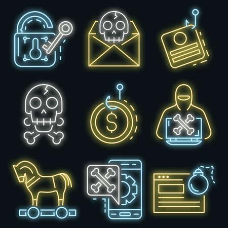 Phishing icon set vector neon