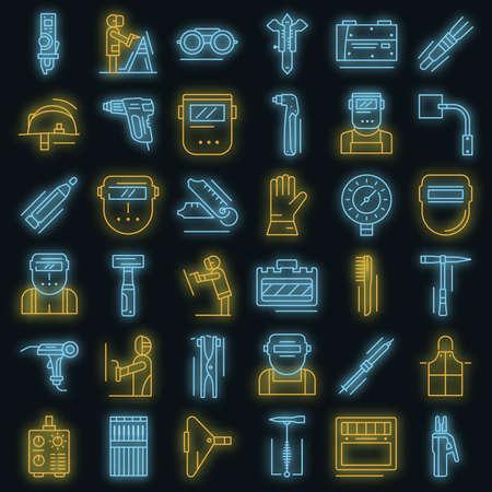 Welder icon set vector neon
