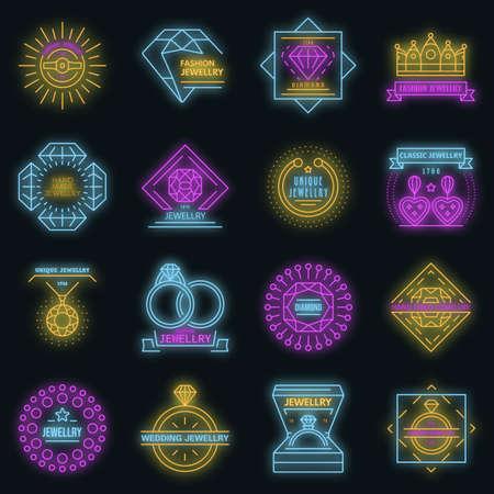 Jewellery icon set vector neon