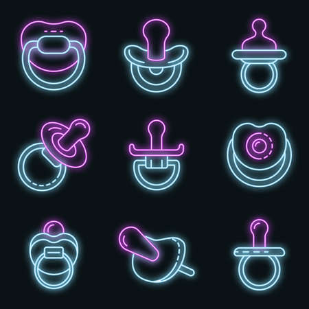 Pacifier icons set vector neon