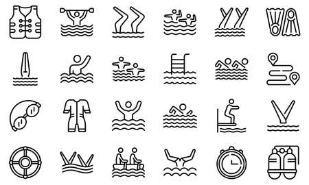 Synchronized swimming icon, outline style