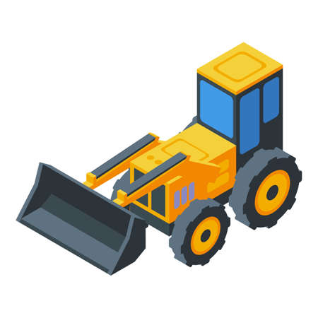 Construction machinery icon. Isometric of construction machinery vector icon for web design isolated on white background