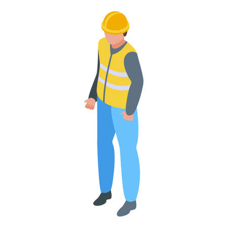 Highway worker icon. Isometric of highway worker vector icon for web design isolated on white background Vector Illustratie