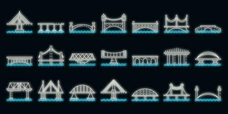 Bridges icons set. Outline set of bridges vector icons neon color on black