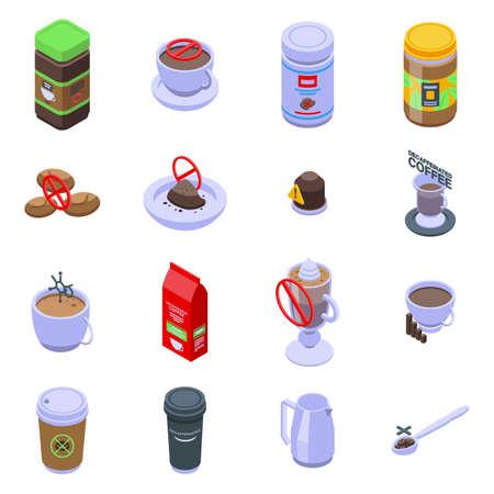 Decaffeinated coffee icons set. Isometric set of decaffeinated coffee vector icons for web design isolated on white background