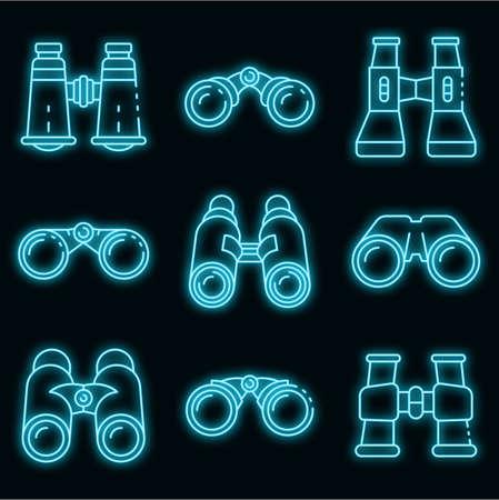 Binoculars icons set. Outline set of binoculars vector icons neon color on black