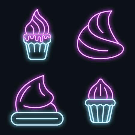 Meringue icons set. Outline set of meringue vector icons neon color on black
