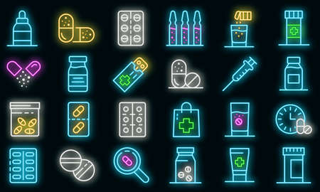 Antibiotic icons set. Outline set of antibiotic vector icons neon color on black