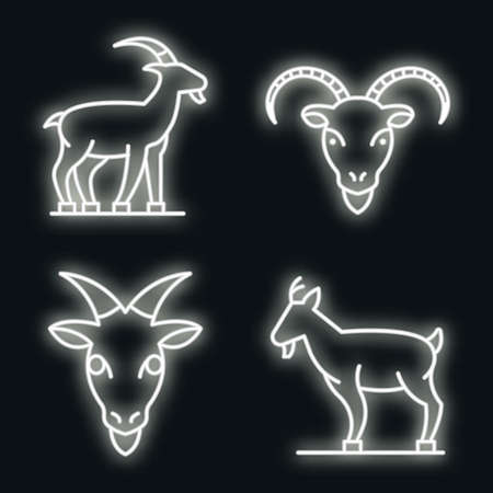 Goat icons set. Outline set of goat vector icons neon color on black