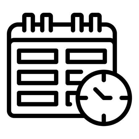 Task schedule calendar time icon. Outline Task schedule calendar time vector icon for web design isolated on white background Vetores