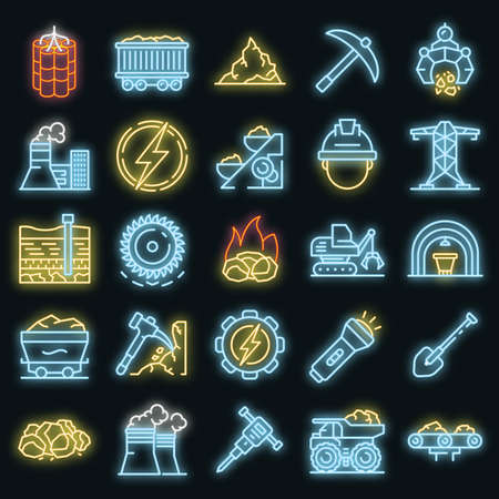 Coal industry icons set. Outline set of coal industry vector icons neon color on black