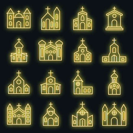 Church icons set. Outline set of church vector icons neon color on black