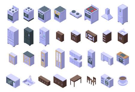 Kitchen furniture icons set. Isometric set of kitchen furniture vector icons for web design isolated on white background Vector Illustration