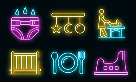 Babysitter icons set. Outline set of babysitter vector icons neon color on white