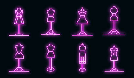 Mannequin icons set. Outline set of mannequin vector icons neon color on black