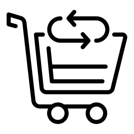 Cart return shopping icon. Outline Cart return shopping vector icon for web design isolated on white background