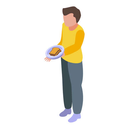 Disobedient boy with sandwich icon. Isometric of Disobedient boy with sandwich vector icon for web design isolated on white background