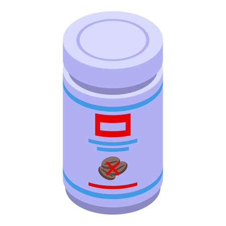 Decaffeinated coffee milk jar icon. Isometric of Decaffeinated coffee milk jar vector icon for web design isolated on white background