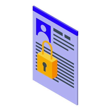 Private personal data icon. Isometric of Private personal data vector icon for web design isolated on white background