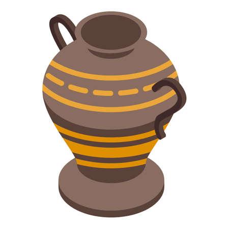 Ornament amphora icon. Isometric of Ornament amphora vector icon for web design isolated on white background Ilustración de vector