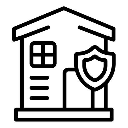 Liability secured house icon. Outline Liability secured house vector icon for web design isolated on white background
