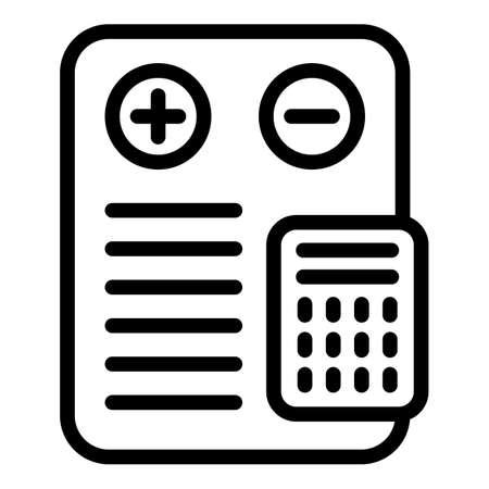 Liability calculator icon. Outline Liability calculator vector icon for web design isolated on white background Vektorové ilustrace