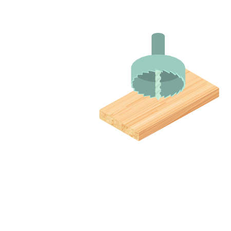 Hole saw icon. Isometric illustration of hole saw vector icon for web