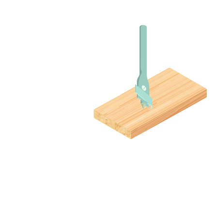 Wood drill icon. Isometric illustration of wood drill vector icon for web