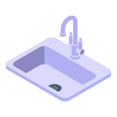 Kitchen sink icon. Isometric of Kitchen sink vector icon for web design isolated on white background Illustration