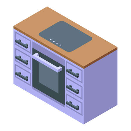 Kitchen oven furniture icon. Isometric of Kitchen oven furniture vector icon for web design isolated on white background