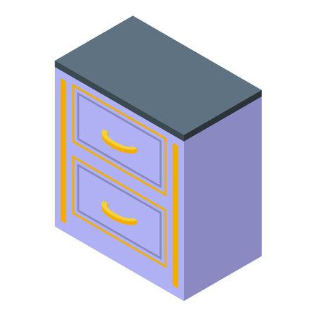 Drawer kitchen furniture icon. Isometric of Drawer kitchen furniture vector icon for web design isolated on white background Illustration