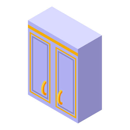 Box kitchen furniture icon. Isometric of Box kitchen furniture vector icon for web design isolated on white background Illustration