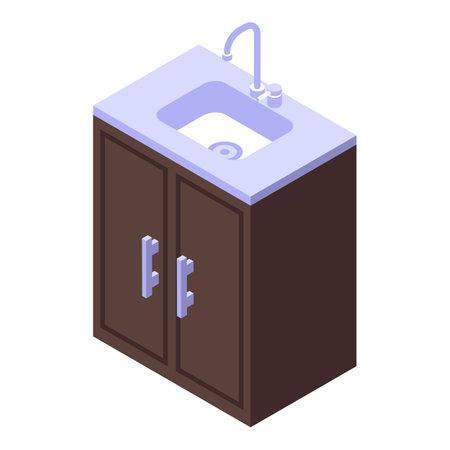 Kitchen sink furniture icon. Isometric of Kitchen sink furniture vector icon for web design isolated on white background Illustration