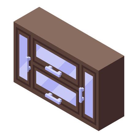 Kitchen wall rack furniture icon. Isometric of Kitchen wall rack furniture vector icon for web design isolated on white background Illustration