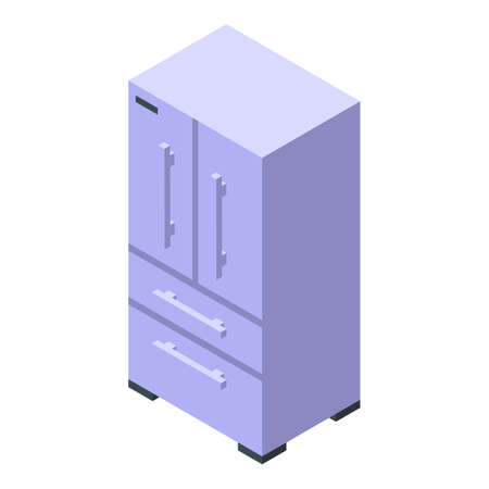 Kitchen steel fridge icon. Isometric of Kitchen steel fridge vector icon for web design isolated on white background