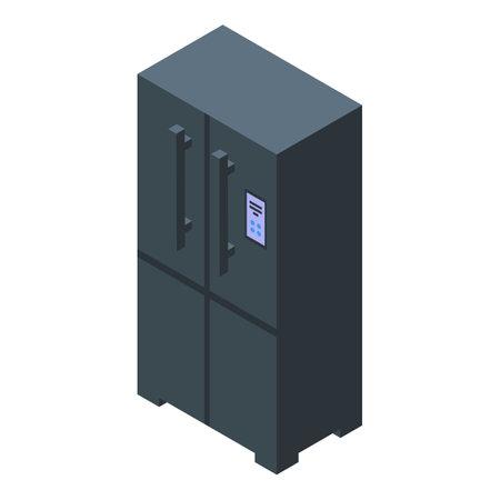 Kitchen black fridge icon. Isometric of Kitchen black fridge vector icon for web design isolated on white background
