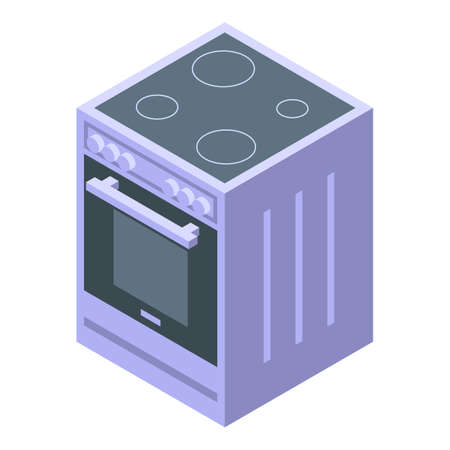 Kitchen induction oven icon. Isometric of Kitchen induction oven vector icon for web design isolated on white background