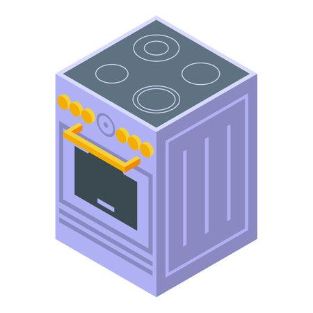 Kitchen induction stove icon. Isometric of Kitchen induction stove vector icon for web design isolated on white background