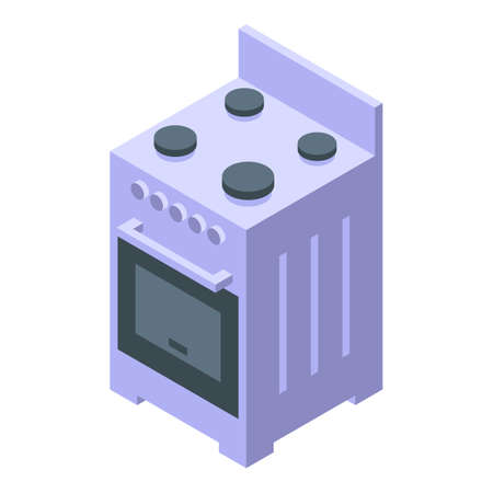 Kitchen electric cook stove icon. Isometric of Kitchen electric cook stove vector icon for web design isolated on white background Illustration