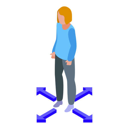 Woman keep distance icon. Isometric of Woman keep distance vector icon for web design isolated on white background