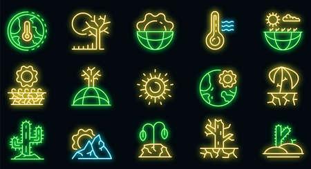 Drought icons set. Outline set of drought vector icons neon color on black Ilustración de vector