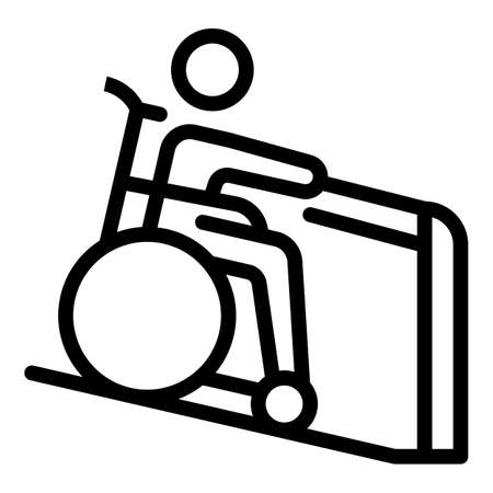 Wheelchair man help icon. Outline Wheelchair man help vector icon for web design isolated on white background