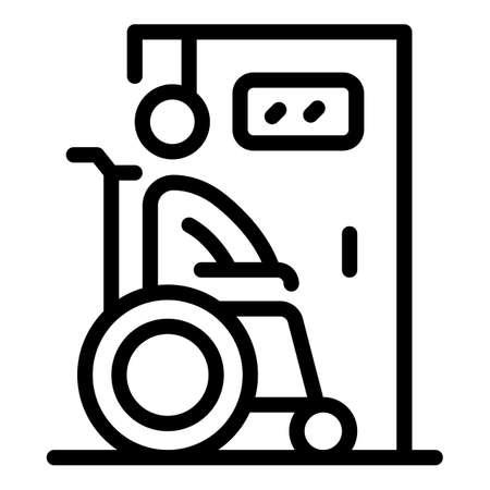 Wheelchair man toilet icon. Outline Wheelchair man toilet vector icon for web design isolated on white background