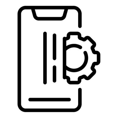 Smartphone gear marketing icon. Outline Smartphone gear marketing vector icon for web design isolated on white background