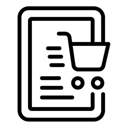 Tablet shopping marketing icon. Outline Tablet shopping marketing vector icon for web design isolated on white background