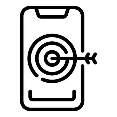 Phone target marketing icon. Outline Phone target marketing vector icon for web design isolated on white background