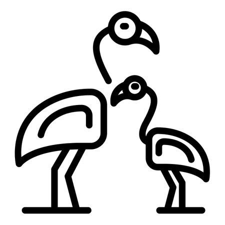 Family flamingo icon. Outline Family flamingo vector icon for web design isolated on white background