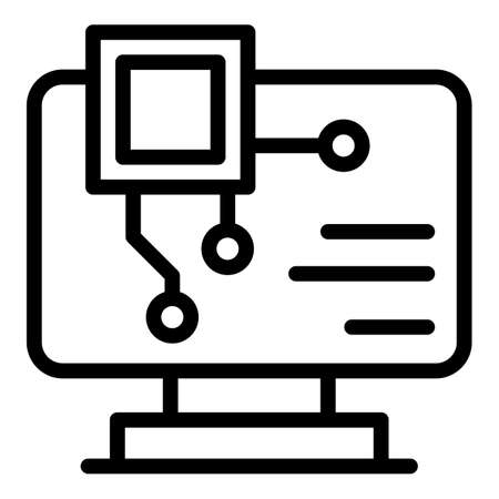 Api computer icon. Outline Api computer vector icon for web design isolated on white background