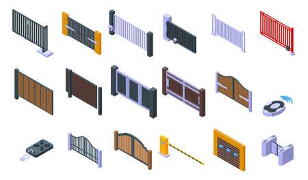 Automatic gate icons set. Isometric set of automatic gate vector icons for web design isolated on white background Ilustração Vetorial