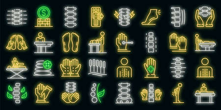 Osteopathy icons set. Outline set of osteopathy vector icons neon color on black Vecteurs